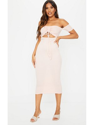 PrettyLittleThing ribbed bardot ruched cut out midi dress