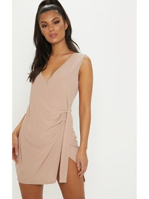 PrettyLittleThing ribbed belted wrap dress