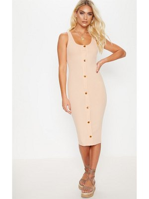 PrettyLittleThing ribbed button detail midi dress