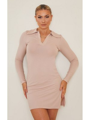 PrettyLittleThing ribbed collar detail long sleeve bodycon dress