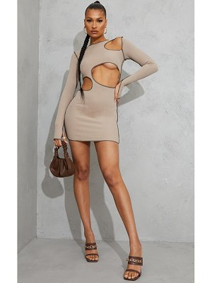 PrettyLittleThing ribbed contrast stitch cut out long sleeve bodycon dress