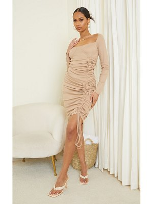 PrettyLittleThing ribbed cup detail bardot ruched midi dress