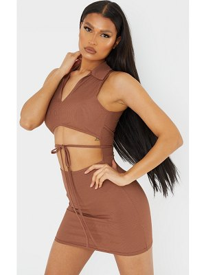 PrettyLittleThing ribbed cut out collar detail sleeveless bodycon dress