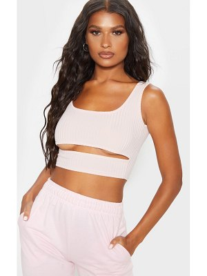 PrettyLittleThing ribbed cut out crop top