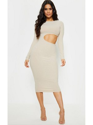 PrettyLittleThing ribbed cut out long sleeve midi dress