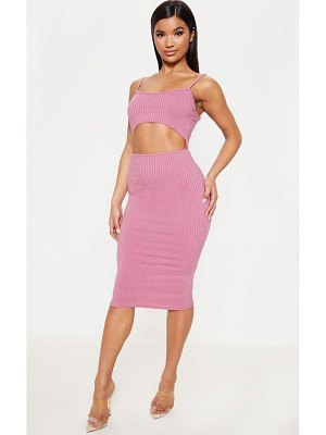 PrettyLittleThing ribbed cut out strappy midi dress