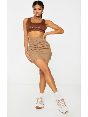 PrettyLittleThing ribbed dip waist ruched mini skirt
