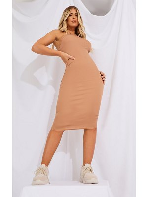 PrettyLittleThing ribbed halterneck midi dress