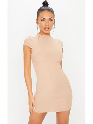 PrettyLittleThing ribbed high neck bodycon dress