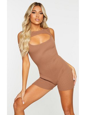 PrettyLittleThing ribbed knitted cut out unitard
