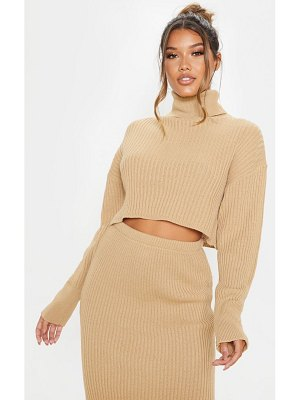 PrettyLittleThing ribbed knitted high neck crop top
