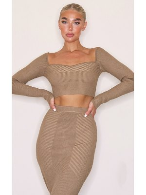 PrettyLittleThing ribbed knitted long sleeve top