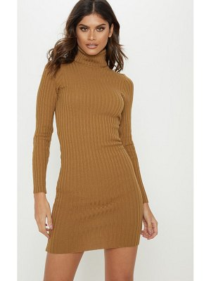 PrettyLittleThing ribbed knitted roll neck dress