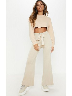 PrettyLittleThing ribbed knitted wide leg trouser