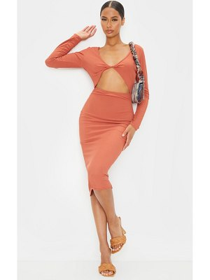 PrettyLittleThing ribbed knot detail long sleeve cut out midi dress