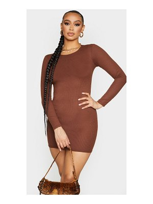 PrettyLittleThing ribbed long sleeve bodycon dress