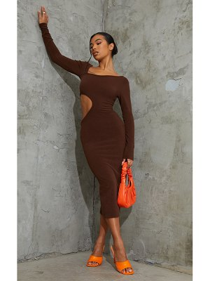 PrettyLittleThing ribbed long sleeve cut out midaxi dress