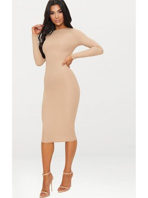 PrettyLittleThing ribbed long sleeve midi dress