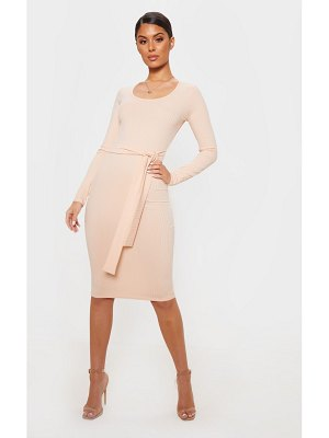 PrettyLittleThing ribbed long sleeve tie waist midi dress