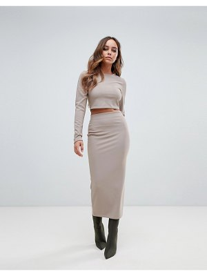 PrettyLittleThing ribbed midaxi skirt two-piece in taupe