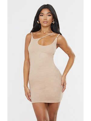 PrettyLittleThing ribbed multi strap detail bodycon dress