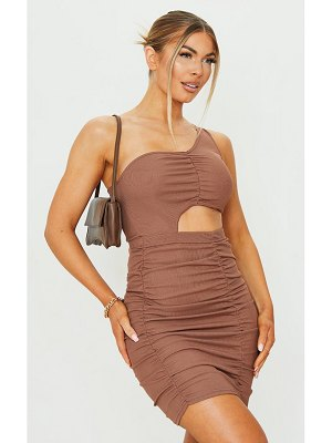 PrettyLittleThing ribbed one shoulder ruched cut out bodycon dress