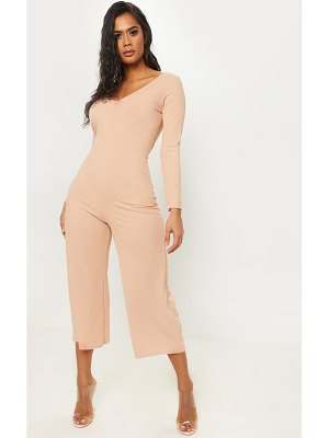 PrettyLittleThing ribbed open back long sleeve jumpsuit