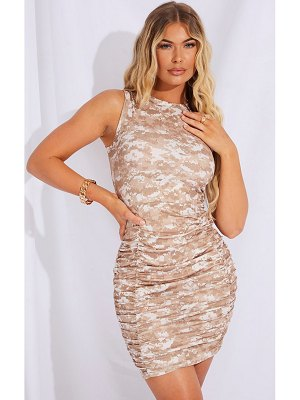 PrettyLittleThing ribbed pixel print ruched sleeveless bodycon dress