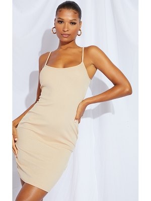 PrettyLittleThing ribbed square neck longline bodycon dress