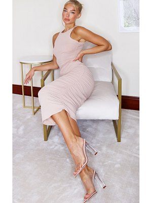 PrettyLittleThing ribbed racer neck ruched midi dress