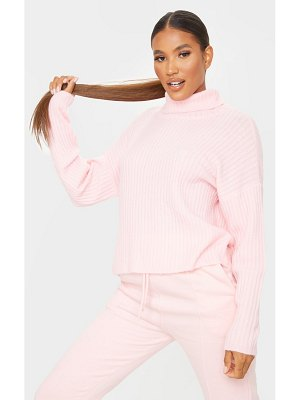 PrettyLittleThing ribbed roll neck textured yarn sweater