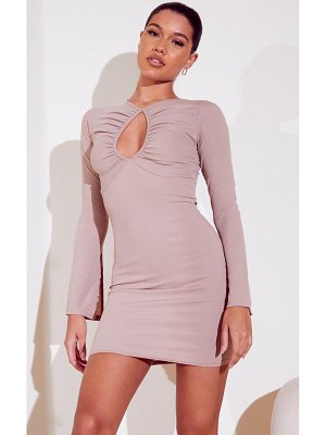 PrettyLittleThing ribbed ruched bust split sleeve bodycon dress