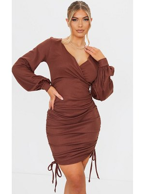 PrettyLittleThing ribbed ruched plunge balloon sleeve bodycon dress