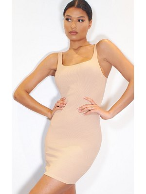 PrettyLittleThing ribbed scoop neck bodycon dress