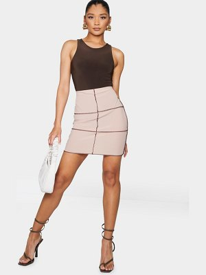 PrettyLittleThing ribbed seam detail panel mini skirt