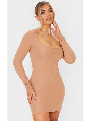 PrettyLittleThing ribbed square neck ruched sleeve bodycon dress
