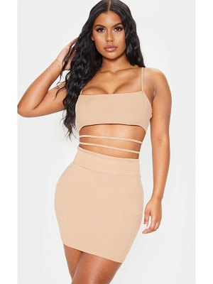 PrettyLittleThing ribbed strappy cut out detail bodycon dress