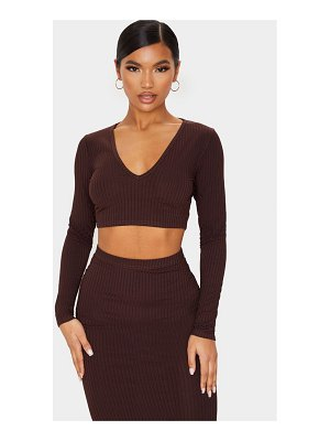 PrettyLittleThing ribbed v neck long sleeve crop top