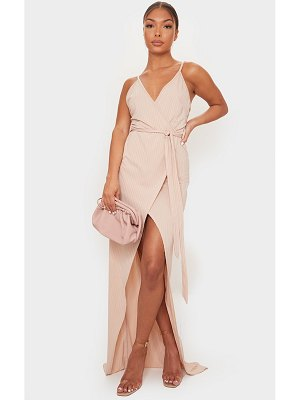 PrettyLittleThing ribbed wrap maxi dress