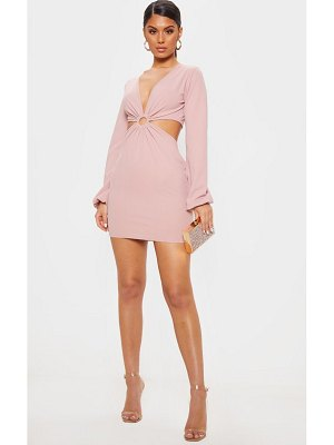 PrettyLittleThing ring detail cut out bodycon dress