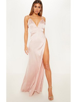 PrettyLittleThing ring detail extreme plunge maxi dress