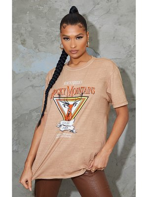 PrettyLittleThing rocky mountains printed acid wash t shirt
