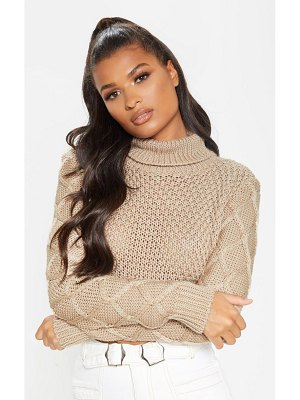 PrettyLittleThing roll neck cable sleeve cropped sweater