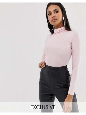 PrettyLittleThing exclusive roll neck long sleeve body in pink