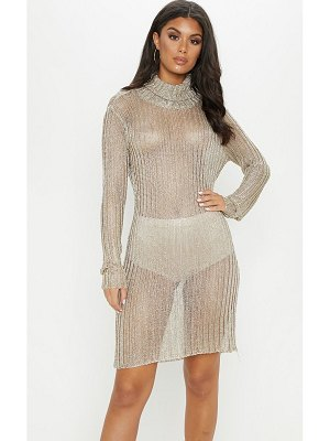PrettyLittleThing roll neck metallic knitted dress