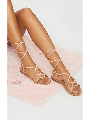 PrettyLittleThing rope lace up flat sandals