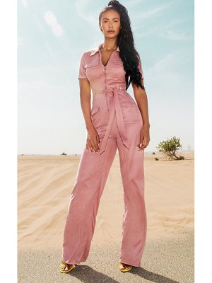 PrettyLittleThing rose faux suede zip detail jumpsuit