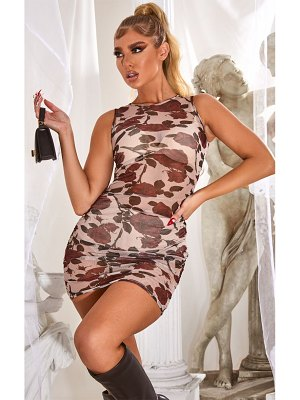 PrettyLittleThing rose floral print mesh ruched side mini dress