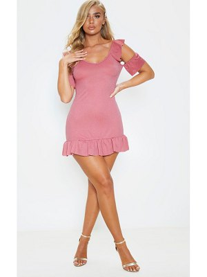 PrettyLittleThing rose frill detail cold shoulder bodycon dress
