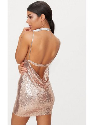 PrettyLittleThing rose gold chain strap sequin plunge bodycon dress